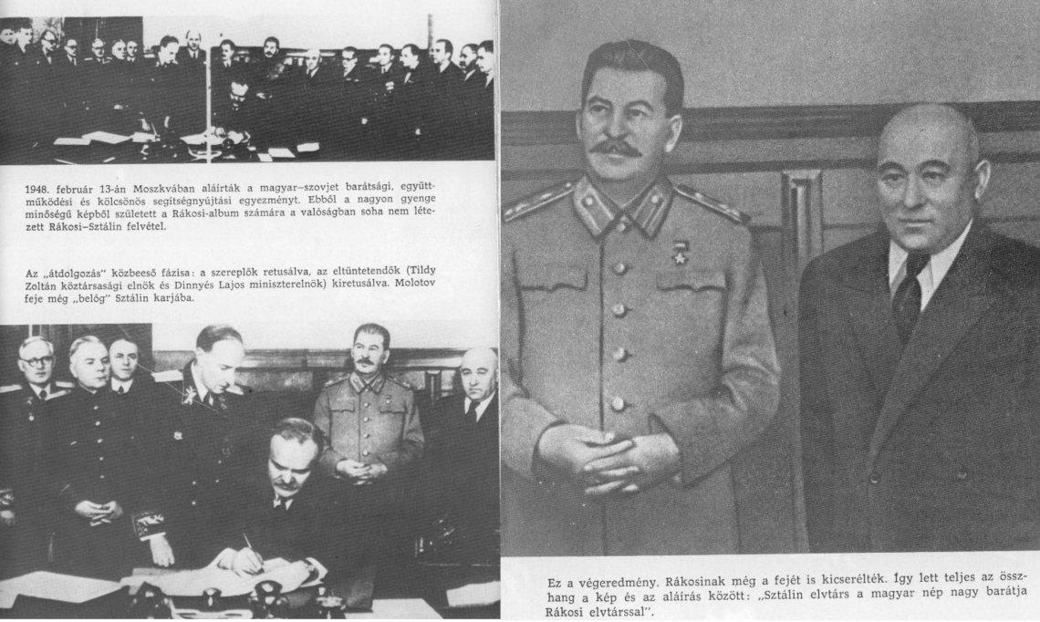 Rákosi és Sztálin manipulált fotója