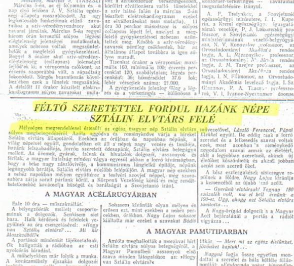 Mélységes megrendeléssel Sztálin haláláról