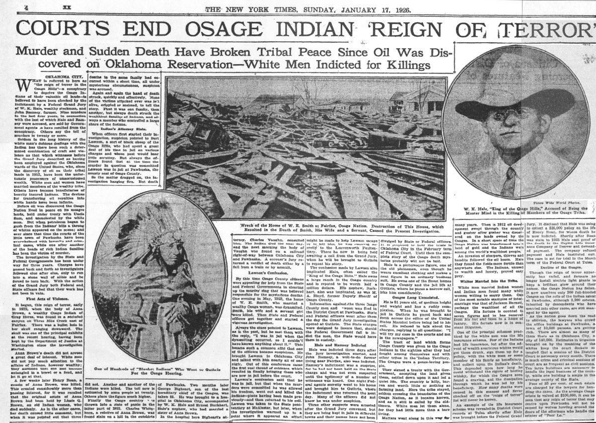 Cikk az oszázs indiánok elleni terrorról