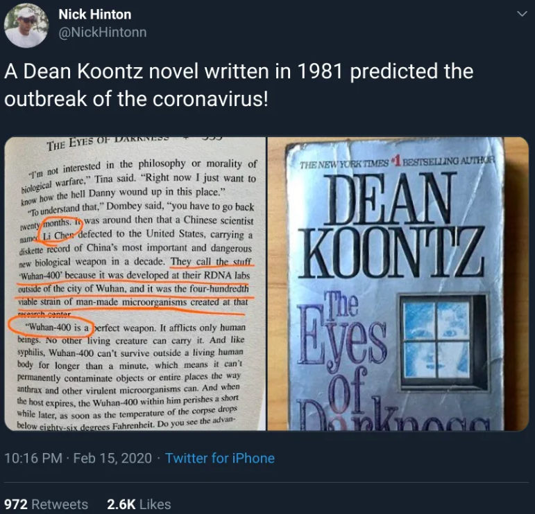 Dean R. Koontz Wuhan-400 nevű vírusról szóló, 1981-es regénye