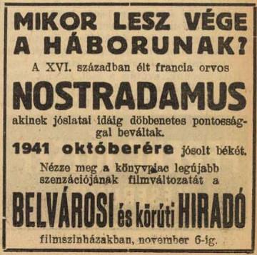 Nostradamus könyvének hirdetése