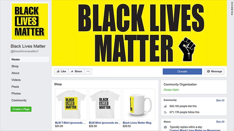 Black Lives Matter Facebook-oldal