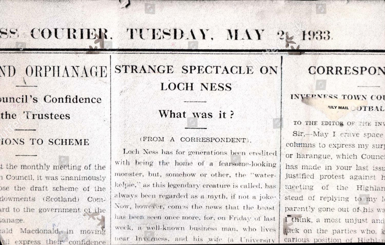 Újságcikk a Loch Ness-i szörnyről