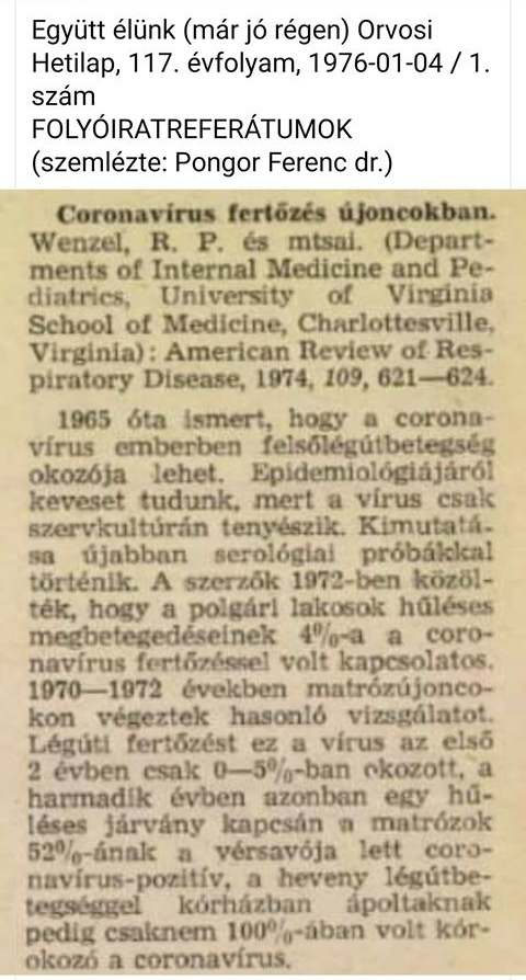 1976-os koronavírus cikk