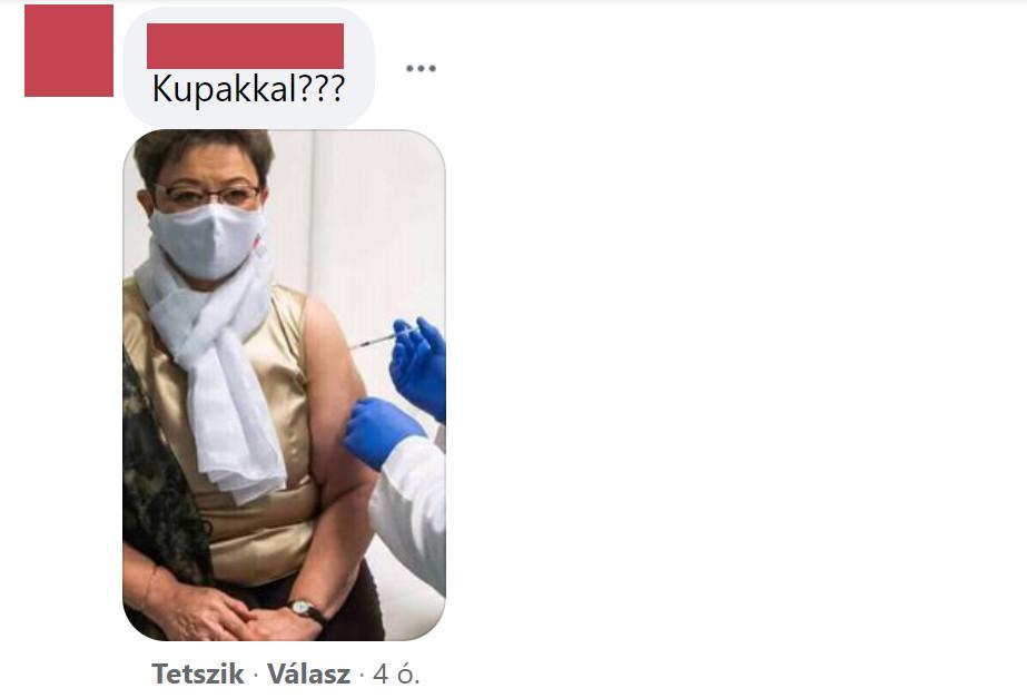 A Müller Cecília oltása kupakkal konteó Doktor Gődény facebookos posztja alatt