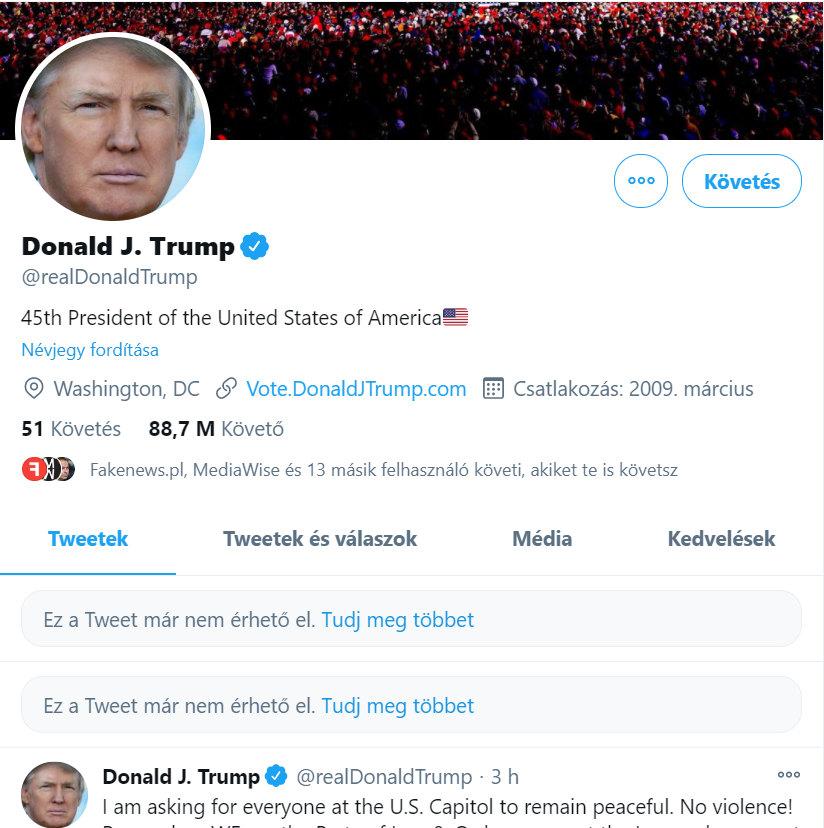 A Twitter elérhetetlenné tette Donald Trump videóját