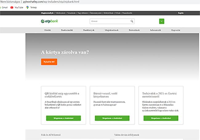 OTP hamis adathalász oldal