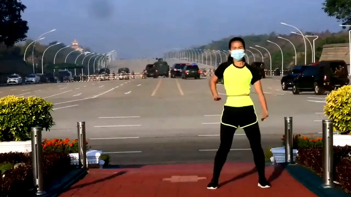 Aerobikvideó a mianmari puccs közben