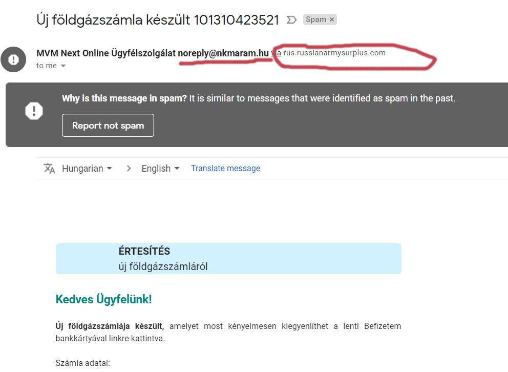 MVM Next Online és nkmaram e-mailcímes, földgázszámlás átverés