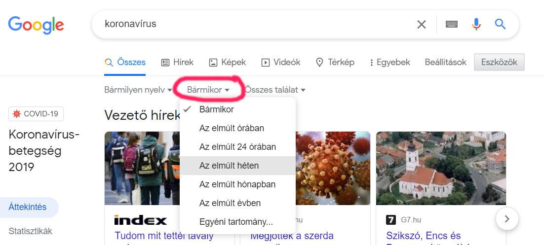 Keresés szűkítése idő szerint a Google keresőjében