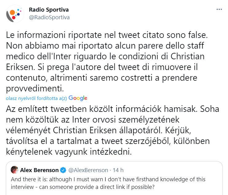 A Radio Sportiva nyilatkozata Christian Eriksen Covid-oltásáról