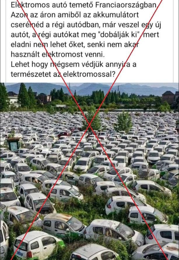 Elektromos autó temető Franciaországban - kamu fotó