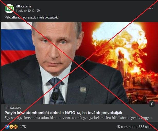 Putyin atomcsapással fenyeget - félrevezető cikk