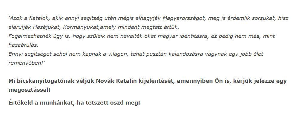 Novák Katalin idézet árulás