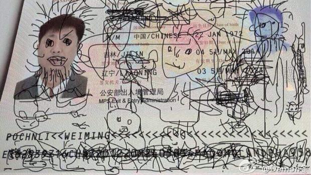 Összefirkált kínai útlevél