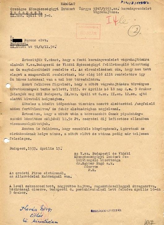 magtalanítás tréfa 1953