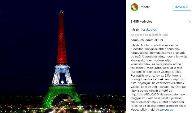 Eiffel-torony piros-fehér-zöld kamu