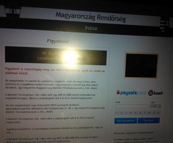 Magyar Rendőrség zsarolóvírus