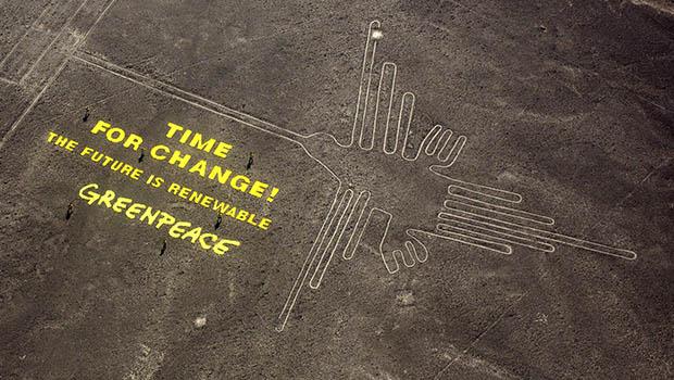Greenpeace-akció a Nazca-vonalaknál