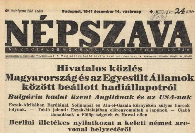 A magyar hadüzenet híre a Népszavában