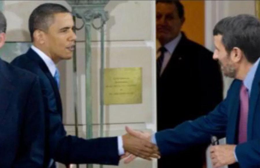 Barack Obama és Mahmud Ahmadinezsád kamufotója