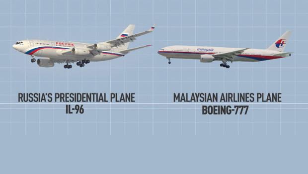 Putyin gépe és a Malaysian Airlines gépe