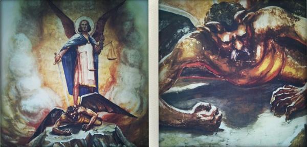 Szent Mihály arkangyal legyőzi a Sztálin arcával megfestett ördögöt