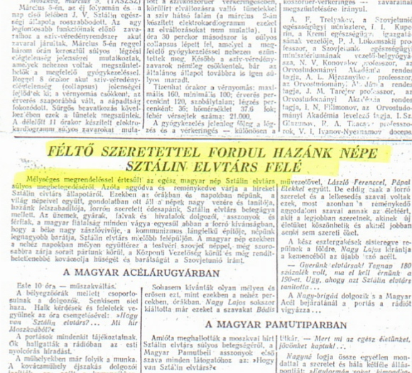 Mélységes megrendeléssel értesült az egész magyar nép Sztálin elvtárs súlyos megbetegedéséről (Népszava)
