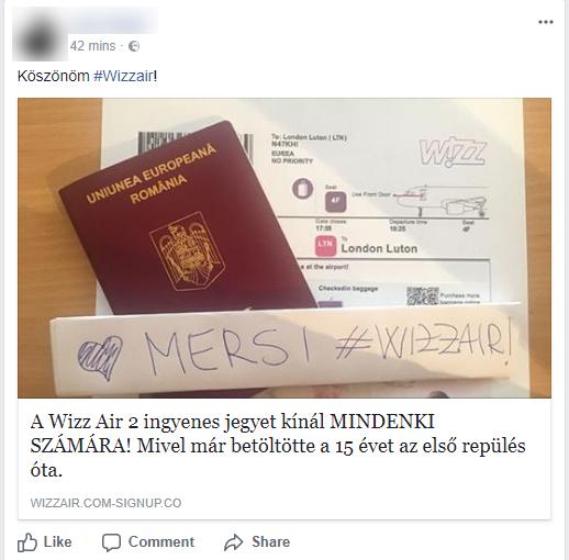 71215eddc124 A wizzair.com hivatalos Facebook oldalának pár órával ezelőtti  figyelmeztetése szerint a cég valódi oldalának formai elemeire hajazó  szájtok jelentek meg ...